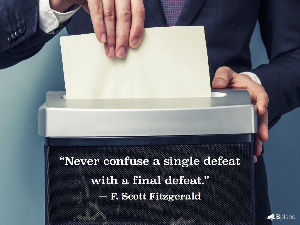 """""""Never confuse a single defeat with a final defeat."""" — F. Scott Fitzgerald; Tweet this!"""
