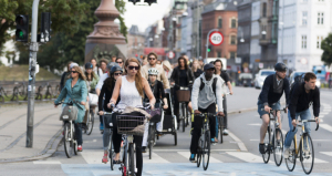Droves of bike commuters in Copenhagen, the capital city of Denmark.
