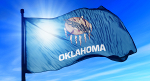 The state flag in Oklahoma combines symbolism from the Native American Osage and Choctaw peoples, prominent in the area.