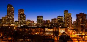 The Denver skyline at night.