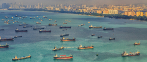 Ships arriving at the Port of Singapore, one of the busiest in the world.