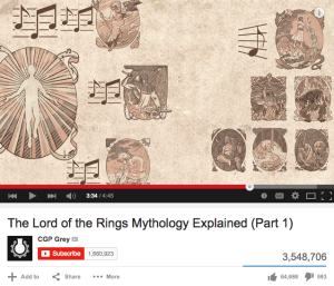 """CGP Grey's video """"The Lord of the Rings Mythology, Explained (Part 1),"""" has over three million views."""