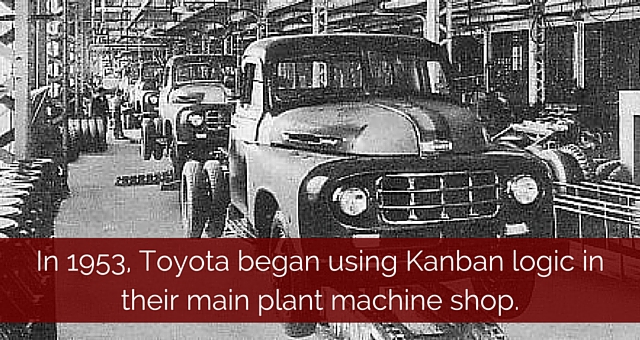 In 1953, Toyota began using Kanban logic in their main plant machine shop.
